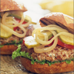 Spiced Pork and Apple Burgers with Cheddar and Maple Dijon
