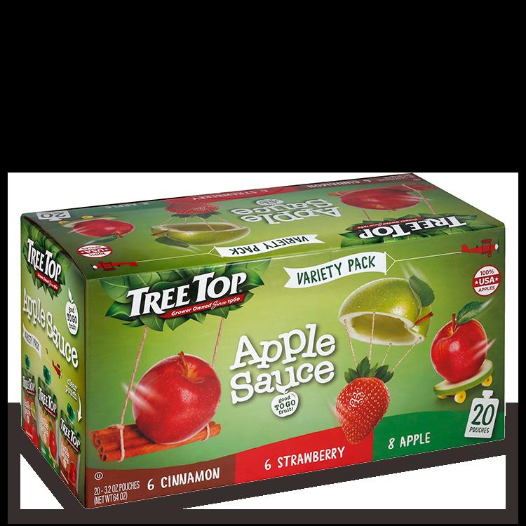 Tree Top Apple Sauce Variety: Cinnamon, Strawberry, Apple - 20 pack