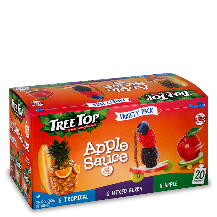 Tree Top Apple Sauce Variety: Tropical, Mixed Berry, Apple - 20 pack